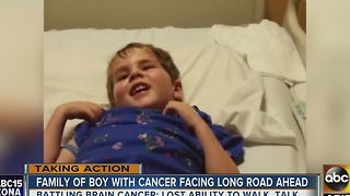 Toddler fighting brain cancer, family shining light on childhood cancer - Video