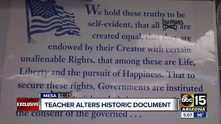Teacher changes words in Declaration of Independence - Video