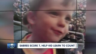 Sabres score 7, help kid learn how to count