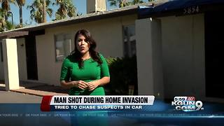 Man shot by assault rifle during car chase - Video