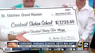 Former students give $7,000 to Cardinal Shehan School - Video