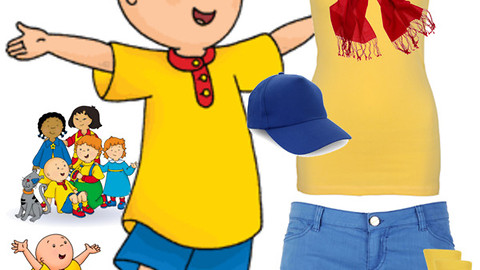mom reads Caillou dress up with her son for bedtime story
