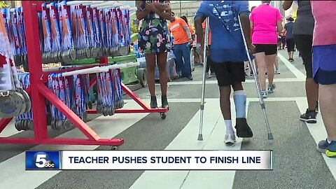 11-year-old finishes Cleveland Marathon 10K race on crutches after he is hit by car, breaks his ankle