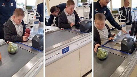 Adorable Boy With Down's Syndrome Invited To Serve Behind The Till Of ' Favourite Shop' After Supermarket Manager Noticed Him Playing In  A Closed Lane