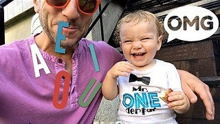 Toddler Learns His Vowels With Dad's Encouragement - Video