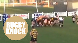 Hilarious video of rugby team demolishing posts with monster scrum - Video