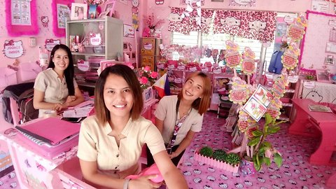 Tickled pink: Devoted teacher spends three years transforming classroom into 'Hello Kitty' haven – all at her own expense