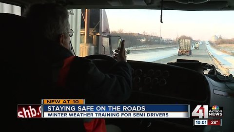 Winter weather training for semi drivers