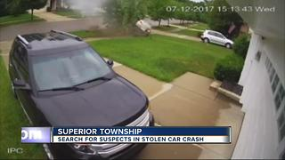 Search for suspects in stolen car crash - Video