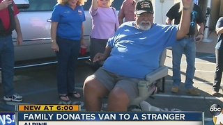Family donates van to disabled military veteran - Video