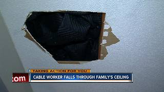 Family switched to Dish Network, ran into problems when tech fell through the ceiling - Video
