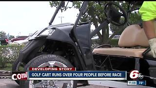 Four injured after getting hit, dragged by golf cart at IMS - Video