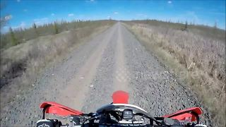 Helmet camera captures terrifying dirt bike crash - Video