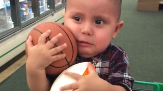 Toddler Cries when his Dad Takes Away his Basketball and Football - Video