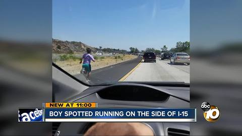 Boy spotted running on side of I-15