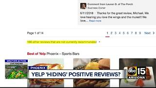 Phoenix restaurant worried Yelp burying some positive reviews