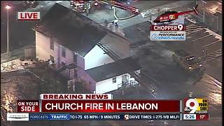 Aerial look: Firefighters battle bitter cold in Lebanon church fire - Video