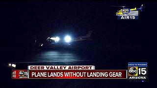 Plane lands in Deer Valley without landing gear - Video