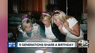 Five generations of Arizona family born on September 3rd - Video