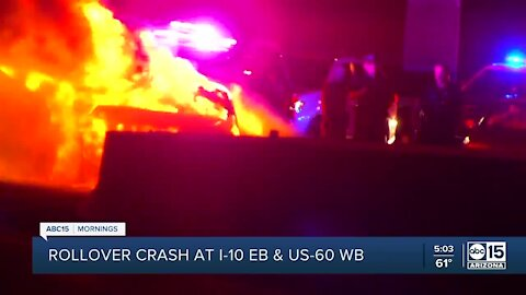 Rollover crash erupts in flames on US-60 to I-10 ramp