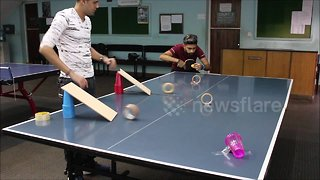 Sensational ping pong trick shot will leave you in awe - Video