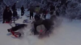 Sledding ends in a hilarious pileup