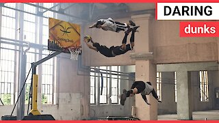 Stuntmen perform flips and basketball dunks in an abandoned playground