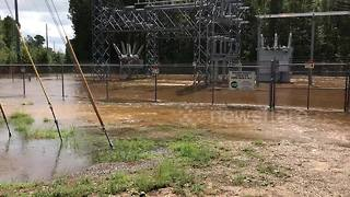 Power substation flooded after Hurricane Florence