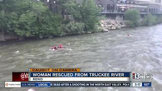 Woman rescued from Truckee River in Reno - Video
