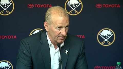 Buffalo Sabres new head coach Ralph Krueger talks to media