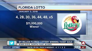 $11 Million Florida lotto ticket sold in North Fort Myers - Video