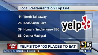 Arizona restaurants make Yelp's Top 100 Places to Eat in 2019 list