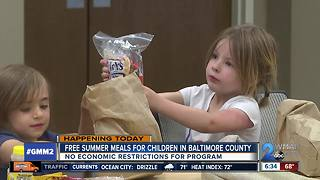 Free summer meals available at Baltimore County libraries and schools - Video