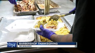 Local barbers cook Thanksgiving meal for 250 people in need