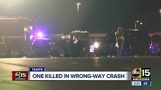 One killed in wrong-way crash in Tempe - Video