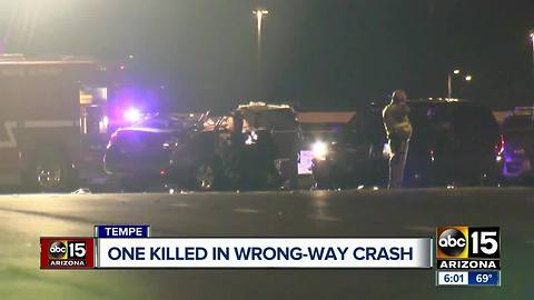 One killed in wrong-way crash in Tempe