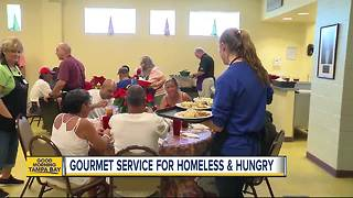 Gourmet cafe for homeless and hungry in Tampa needs servers with a smile - Video