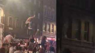 England Fan Scales Lamppost After World Cup Penalty Shootout Win - Video