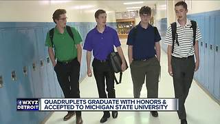 Quadruplet brothers all accepted to Michigan State University - Video