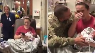 Soldier Surprises Wife After Giving Birth To Their Child
