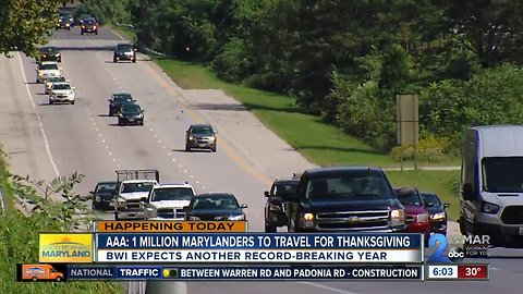 AAA: 1 million+ Marylanders to travel for Thanksgiving