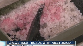 Waukesha County battles icy roads with beet juice - Video