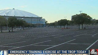 Emergency training exercise at the Trop today - Video