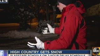 Live in Flagstaff: Schools delayed two-hours due to snowy conditions - Video