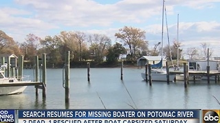 Search resumes for missing boater on Potomac River - Video