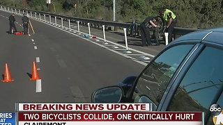 Collision involving 2 bicyclists leaves one critically injured - Video