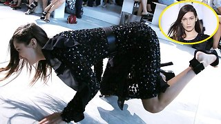 Bella Hadid FALLS ON THE RUNWAY during New York Fashion Week on theFeed! - Video