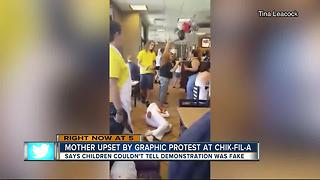 Mother upset by graphic protest at Chik-Fil-A - Video