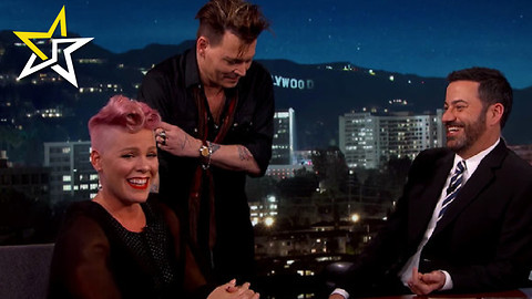Singer Pink Gets A Surprise Visit From Johnny Depp On Jimmy Kimmel