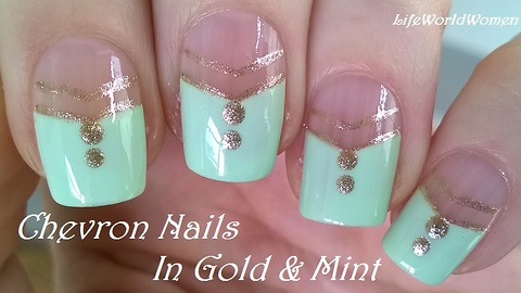 Mint green & gold chevron nail art
